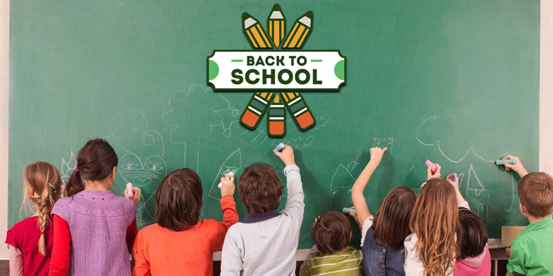 Back to school. Ten Kids on writing on the school chalkboard. with logo back to school with  three no. two pencil